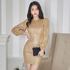 Dimanche - Glitter Long-Sleeve Sheath Party Dress