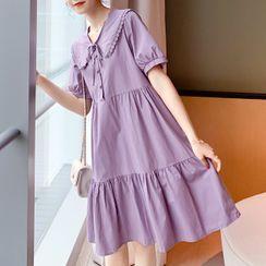 Empressa - Maternity Lace Trim Collar Midi A-Line Dress