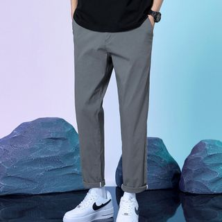 Diomedes - Plain Cropped Straight Leg Pants