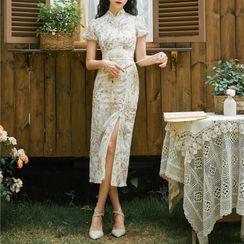 Whisperwind - Short-Sleeve Floral Embroidered Slit Midi Qipao