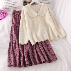 PUYE - Babydoll Cardigan / Floral Print Midi Skirt
