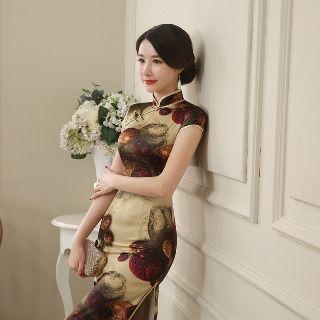 Golden Flowers - Cap Sleeve Printed Maxi Cheongsam