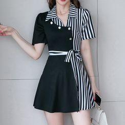 NEME - Set: Short-Sleeve Striped Panel Mini Collared Dress + Shorts
