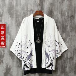DuckleBeam - 3/4-Sleeve Printed Kimono Jacket