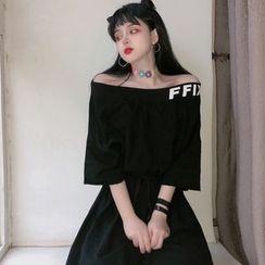 Fabricino - 3/4-Sleeve Off-Shoulder Lettering T-Shirt Dress