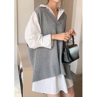 chuu - Dip-Back Woolen Knit Vest