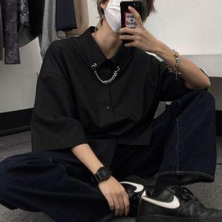 Shineon Studio - Elbow-Sleeve Plain Shirt With Chain