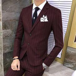 Hawoo - Set: Striped Blazer + Vest + Pants