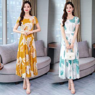 Glaypio - Short-Sleeve Maxi Floral Chiffon Dress