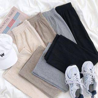 CaraMelody - Plain Wide-Leg Knit Pants