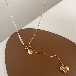 Betsuno - Heart Pendant Faux Pearl Necklace