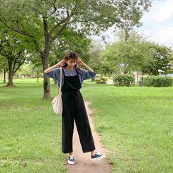 CHERRYKOKO - Drawcord-Waist Plain Overall Pants