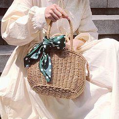 Elencee - Drawstring Woven Handbag