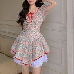 Windflower - Short-Sleeve Floral A-Line Dress / Undershorts