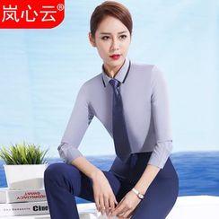 Skyheart - Contrast Trim Shirt / Dress Pants / Pencil Skirt / Set