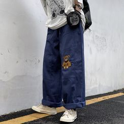 INStudio - Bear Embroidered Wide-Leg Pants