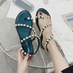 WesWes - Faux Pearl Toe-Ring Sandals