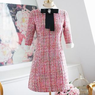 Shima - Elbow-Sleeve A-Line Tweed Dress With Rhinestone Brooch & Bow