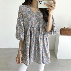 PIPPIN - Balloon-Sleeve Patterned Top
