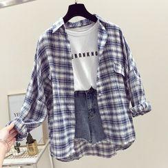 Onnell(オネル) - Long-Sleeve Plaid Shirt / Lace Trim Undershorts