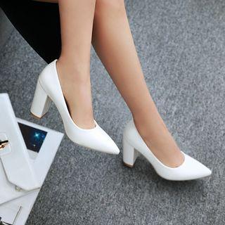 Blingon - 粗跟尖頭鞋