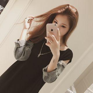 Ashlee - Distressed Denim Panel Long Sleeve T-Shirt Dress