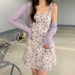 Moon City - Spaghetti-Strap Floral Print Dress / Cardigan