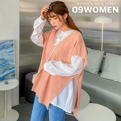 Seoul Fashion - V-Neck Deep-Slit Oversized Vest