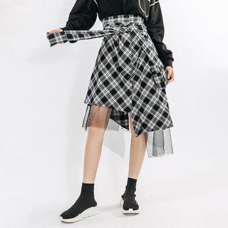 Heynew - Mesh Panel Plaid Tie-Waist A-Line Skirt