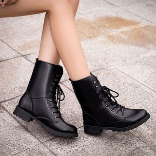 Chinchilla - Couple Matching Lace-Up Short Boots