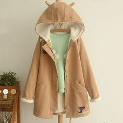 Suzette - Fleece-Lined Cat Embroidered Hooded Coat