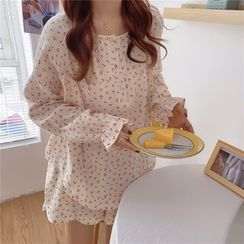 Moon City - Pajama Set: Cherry Print Long-Sleeve Top + Shorts