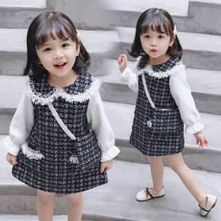 PAM - Kids Set: Long-Sleeve Mini A-Line Tweed Dress + Crossbody Bag