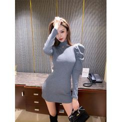 Yvoire - Puff-Sleeve Mini Sheath Dress