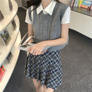 Maisee - Short-Sleeve Polo Shirt / Cropped Cable Knit Sweater Vest / Plaid Pleated Mini A-Line Skirt