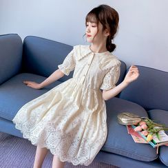 PAM - Kids Short-Sleeve Midi A-Line Lace Dress