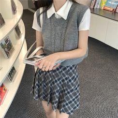 Maisee - 短袖马球衫 / 短款麻花针织毛衣马甲 / 格子打褶裥迷你A字裙