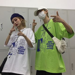 Banash - Couple Matching Elbow-Sleeve Print T-Shirt