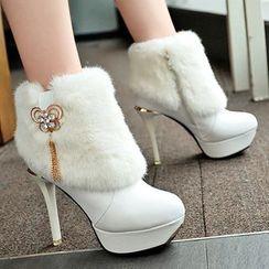 Weiya - Furry Stiletto Heel Platform Short Boots