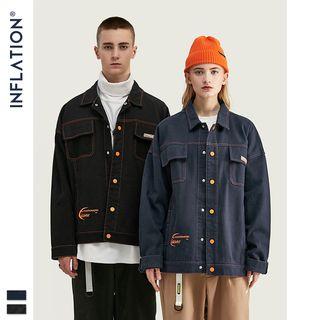 Newin - Couple Drop-Shoulder Stitched Denim Jacket