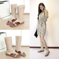 Shoes Galore - Perforated Sandal Boots
