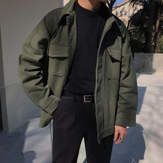 Bay Go Mall - Plain Flap-Pocket Button-Up Jacket