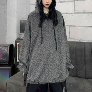 LINSI - 豹纹印花连帽衫