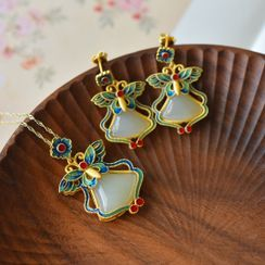 Kanzashi(カンザシ) - Butterfly Genuine Leather Dangle Earring / Pendant Necklace