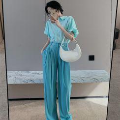 ever after - Bubble-Sleeve Plain Shirt / High-Waist Wide-Leg Dress Pants