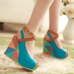 Megan - Color Block Peep-Toe Platform Wedge Heel Sandals
