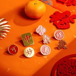 OH.LEELY - Chinese Characters Alloy Brooch