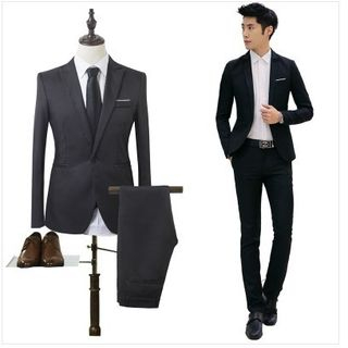 YIKES - Set: Plain Blazer + Slim-Fit Dress Pants