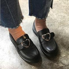 Satomi - 心心釦子樂福鞋