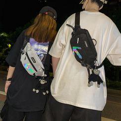 Carryme - Arrow Print Sling Bag / Bag Charm / Set